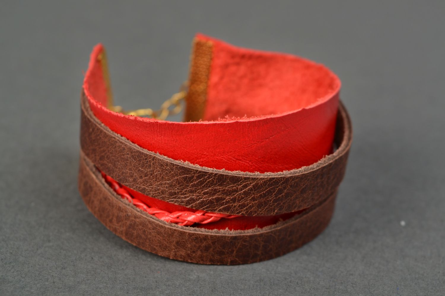 Red genuine leather bracelet photo 1