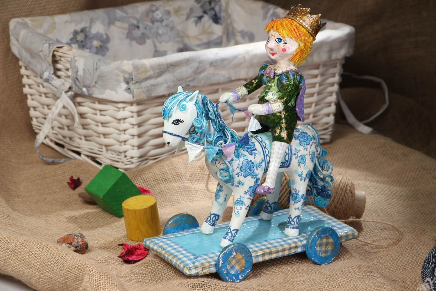 Paper mache figurine Prince on White Horse photo 5