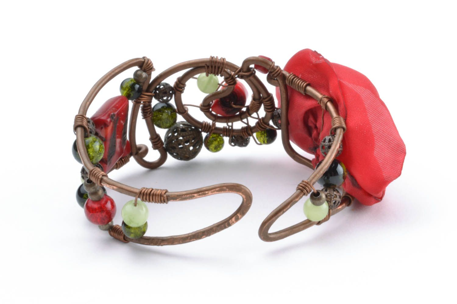Copper bracelet with a flower Poppy photo 4