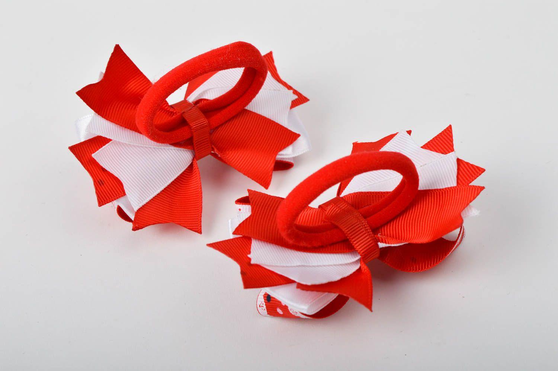 Handmade designer hair ties unusual bow hair ties 2 tender accessories for kids photo 5