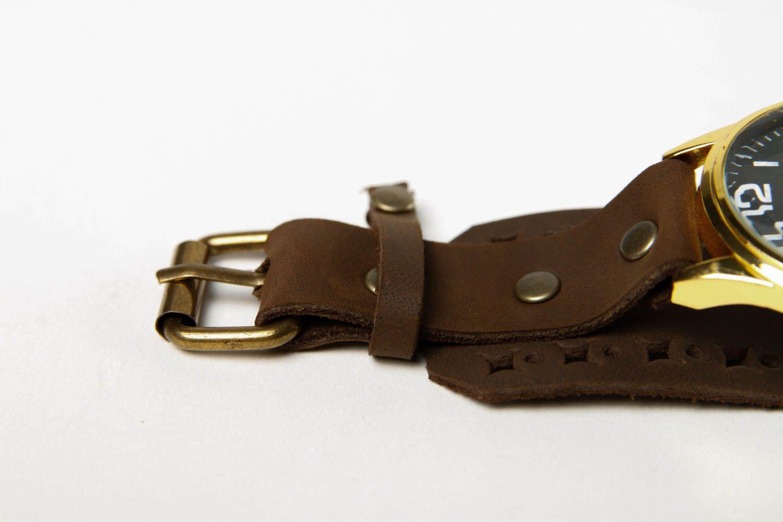 Handmade leather bracelet stylish watch on wristlets unusual designer jewelry photo 4