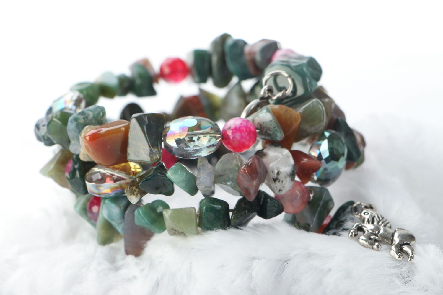 Wide bracelet with natural stones photo 1