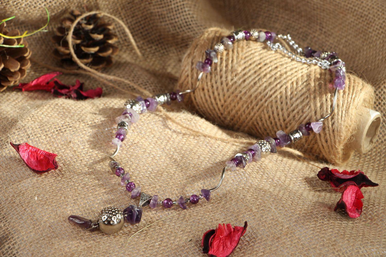 Unusual beaded necklace with amethyst Violet Dreams photo 5