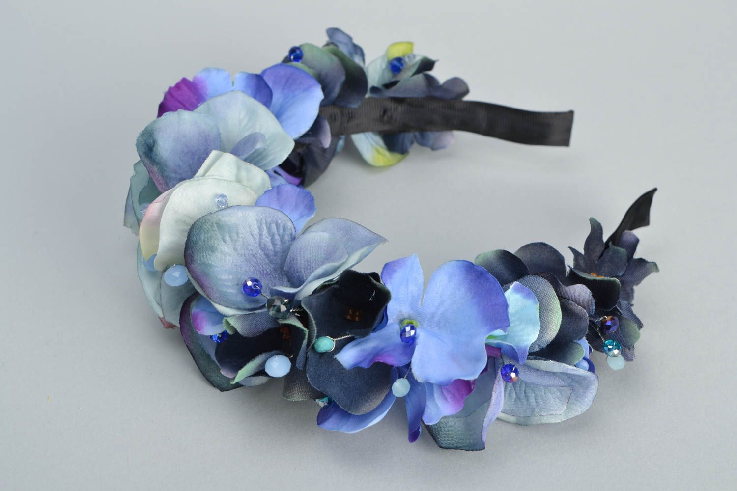Headband with artificial flowers Violets photo 3