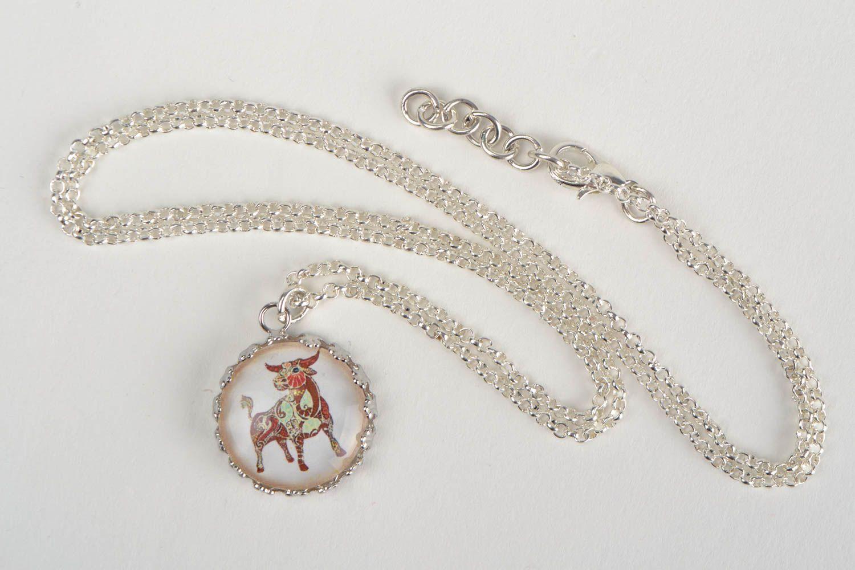 Handmade designer round white glass pendant on chain with image of Taurus photo 3