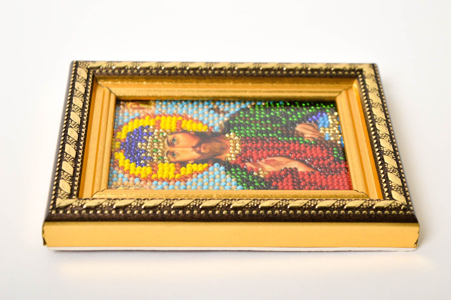 embroidery with beads Handmade beautiful designer icon embroidered orthodox icon religious present - MADEheart.com