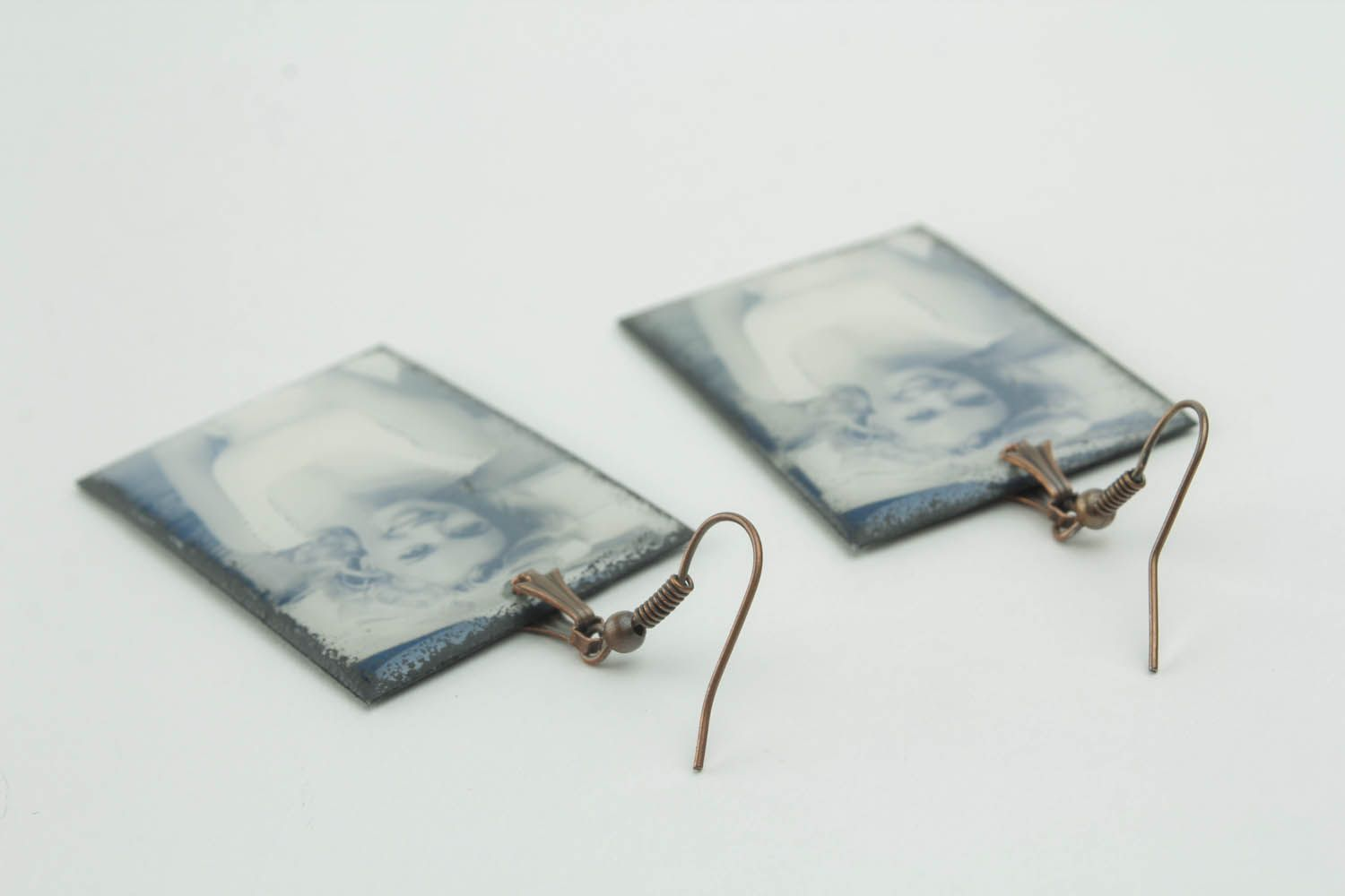 Rectangular earrings with photo print photo 2