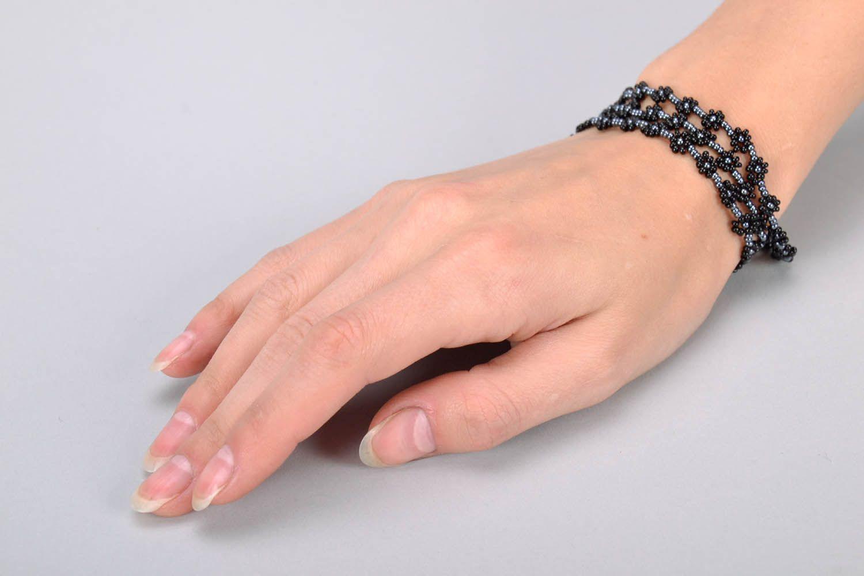 Schwarzes Collier-Armband aus Glasperlen foto 4