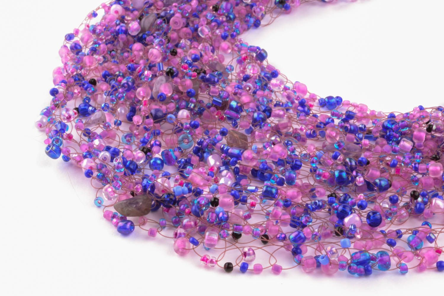Purple necklace with natural stones photo 4