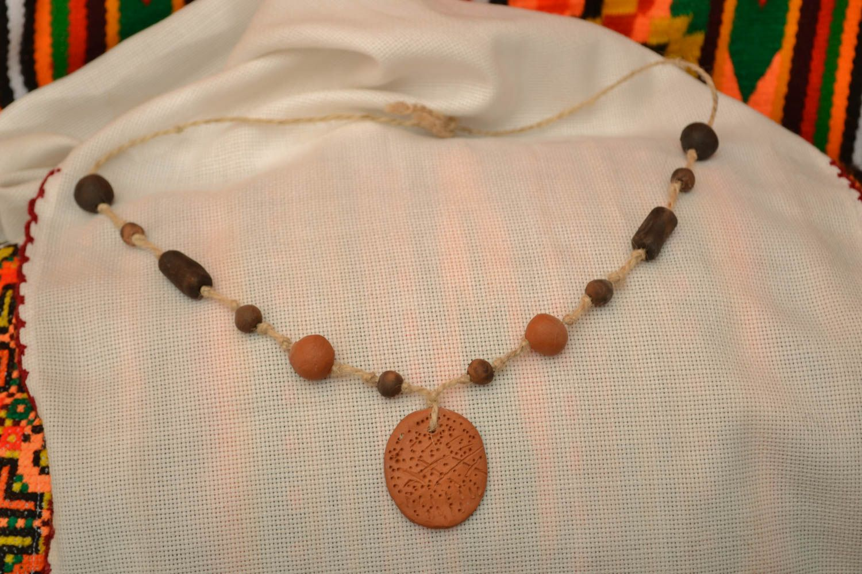 Колье из глины в эко-стиле фото 5