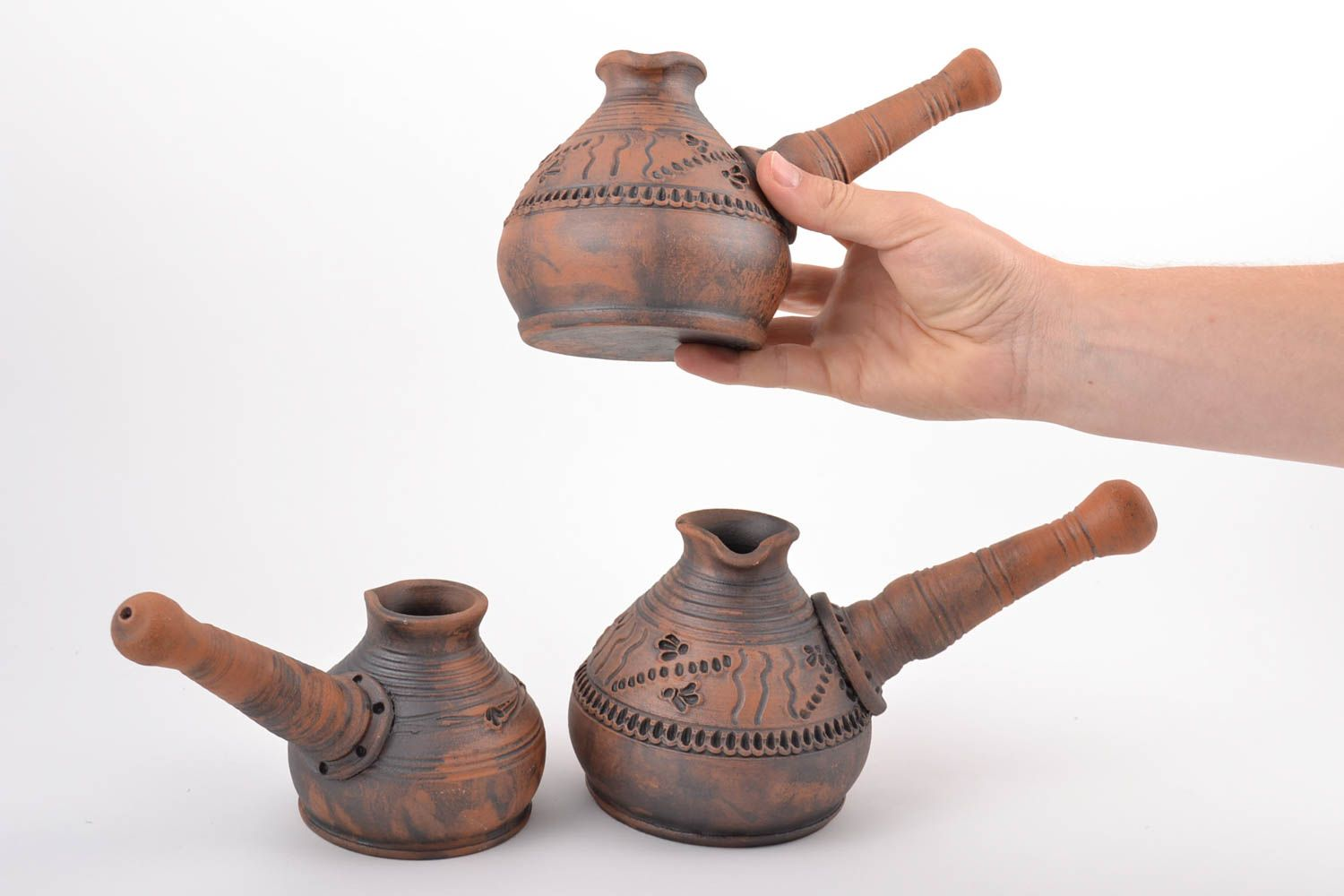 tea pots and coffee pots Handmade designer red clay cezves set kilned with milk 3 pieces 600 and 450 ml - MADEheart.com