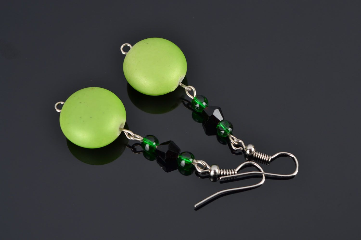 Earrings with plastic beads photo 1
