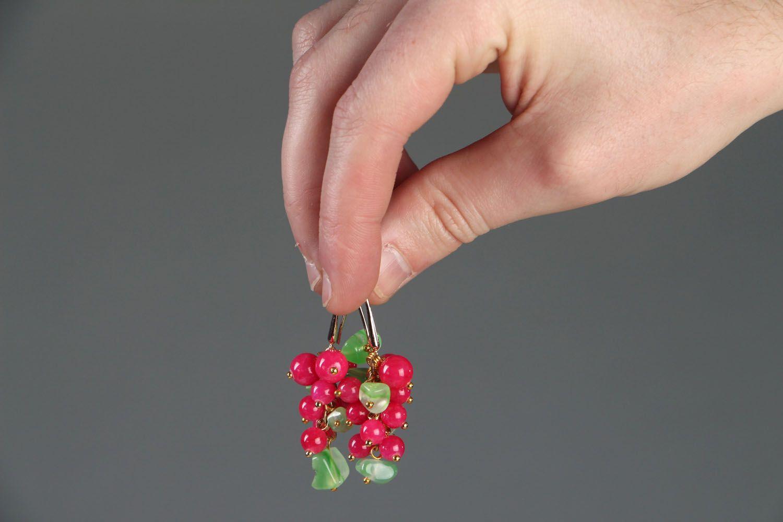 Handmade earrings with natural stones Berries photo 4