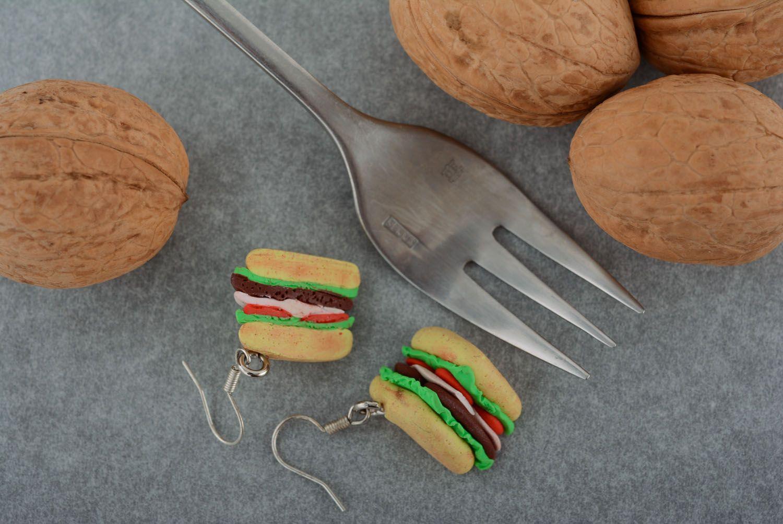 Homemade plastic earrings Sandwiches photo 1
