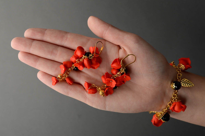 Handmade plastic jewelry set Red Roses photo 5