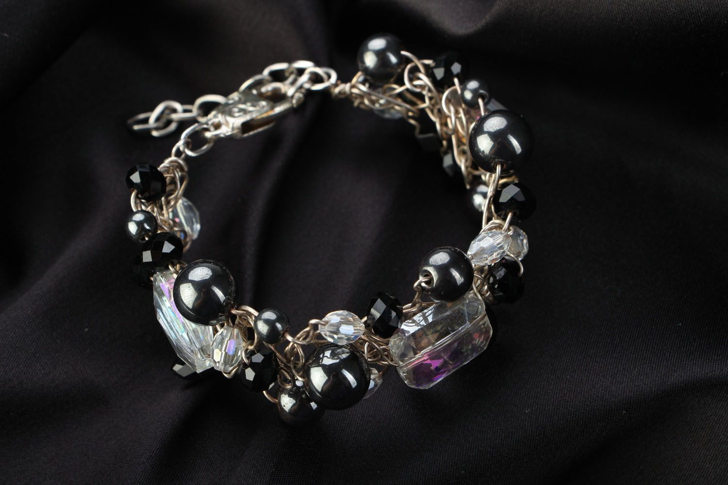 Unusual bracelet with natural stones photo 1