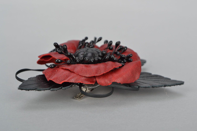 Poppy flower brooch photo 3