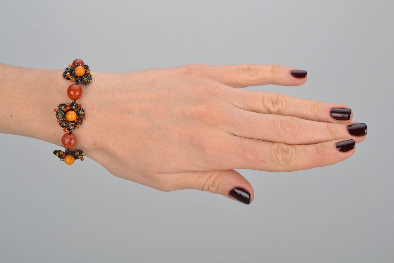 Медный браслет с натуральными камнями фото 2