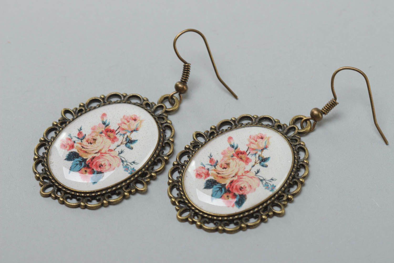 Ovale schöne handmade Ohrringe aus Kaltglasur im Vintage Stil mit Blumen handmade foto 2