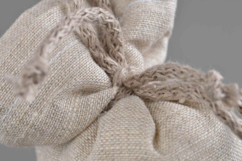 Handmade cushion scented sachets natural linen fabric painted cornflower photo 4