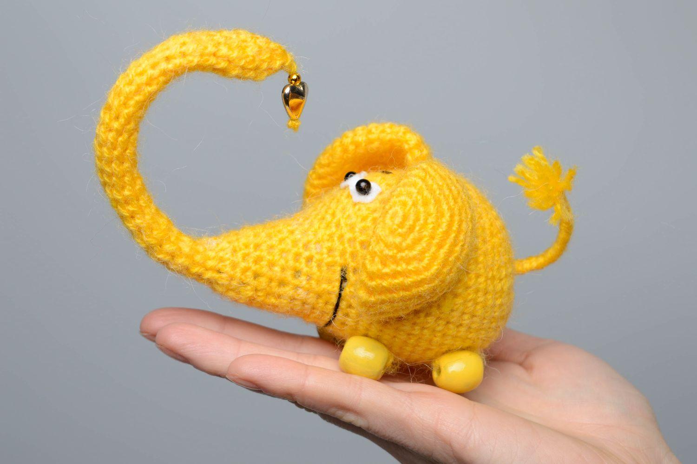 Soft crochet toy Yellow Elephant photo 4
