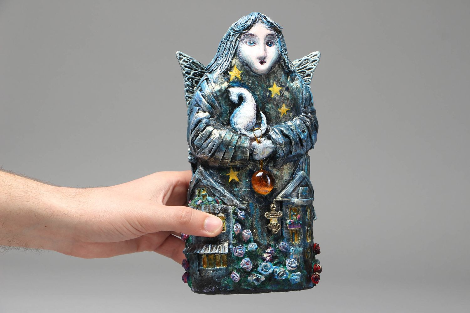 nesting dolls and souvenir dolls Papier mache statuette City Angel - MADEheart.com