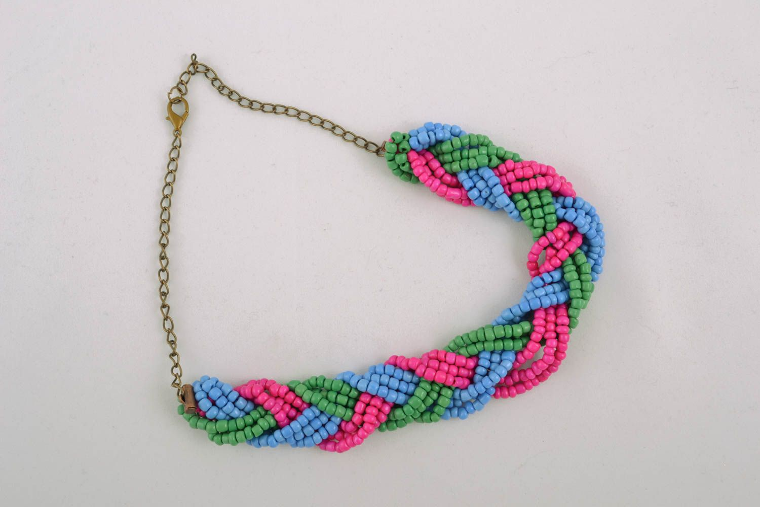 Beaded necklace with chain photo 1