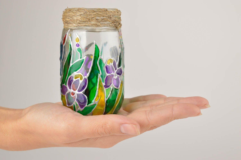 madeheart bocal verre peint fait main vaisselle design motif floral d co maison originale. Black Bedroom Furniture Sets. Home Design Ideas