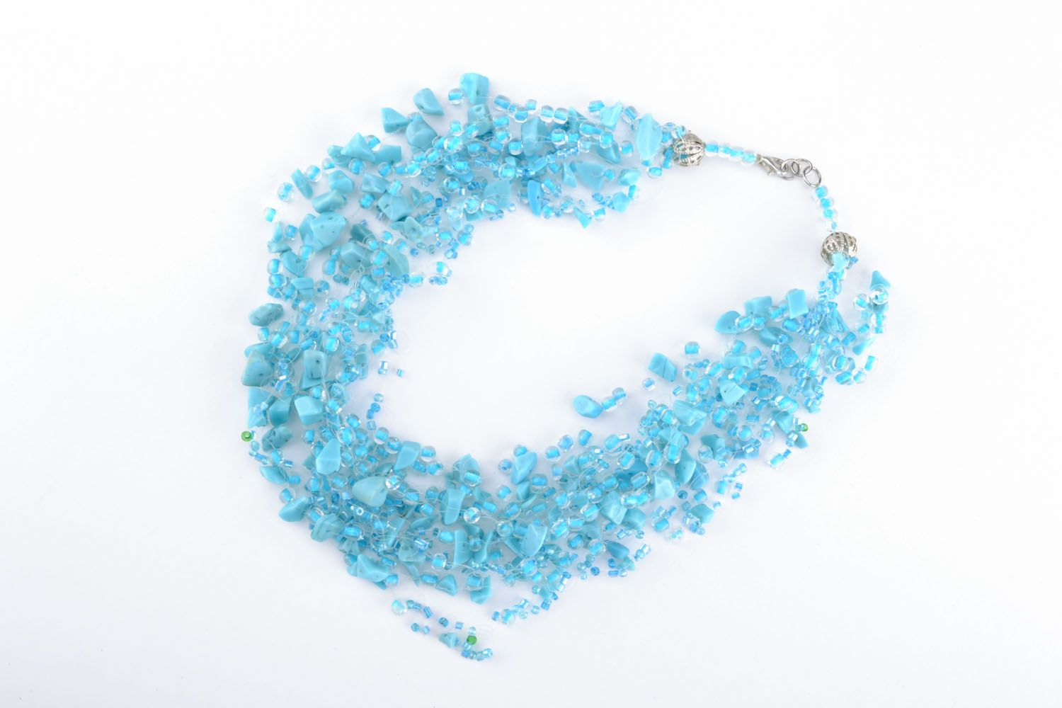Necklace with turquoise and beads photo 1