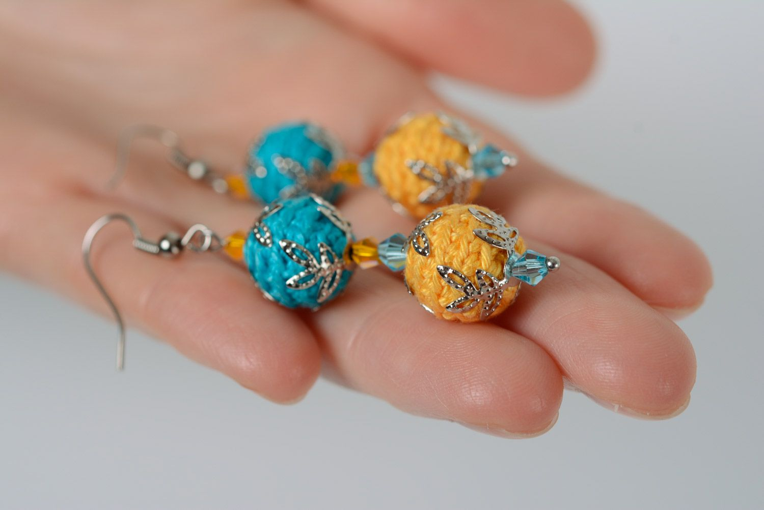 Handmade dangle earrings crocheted of cotton threads of yellow and blue colors photo 2