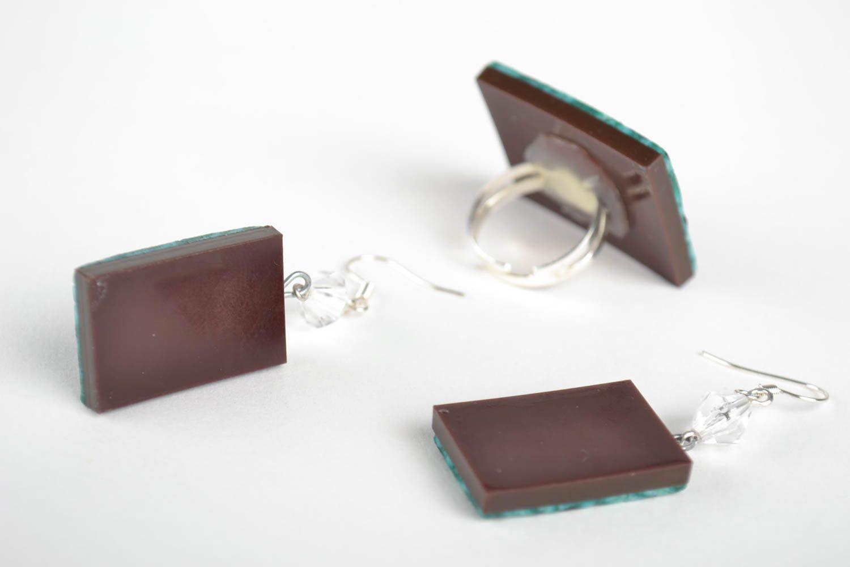 Schmuck Set handmade Modeschmuck Ohrringe Ring Damen Mode Accessoires in Grün foto 2