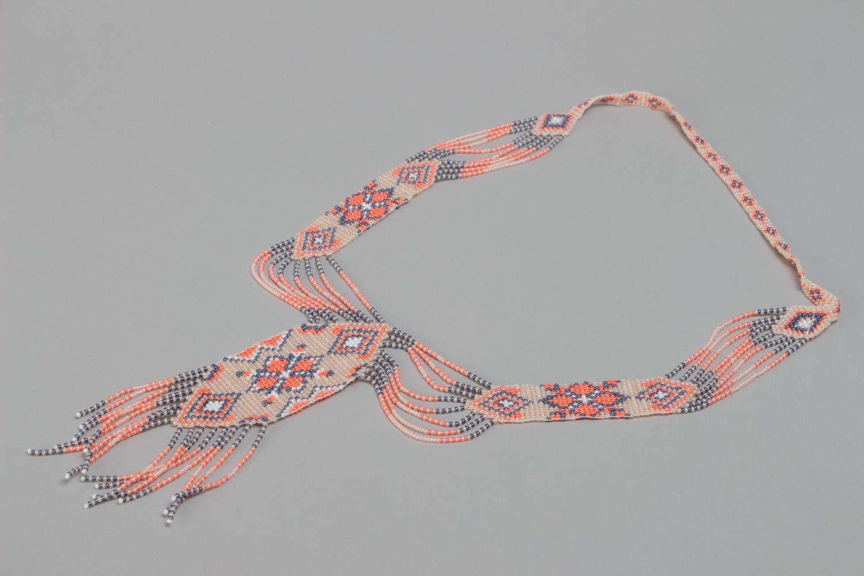 Beautiful pink handmade designer beaded gerdan necklace woven of Czech beads photo 2