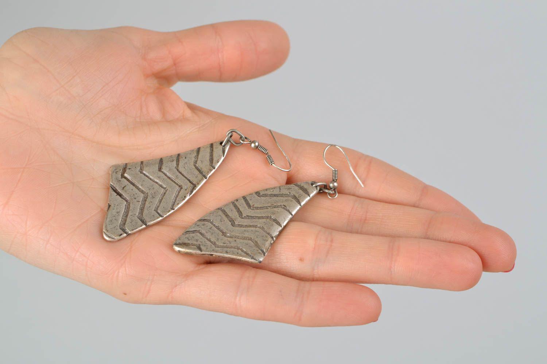 Long earrings made of hypoallergenic metal Stroke of Luck photo 2