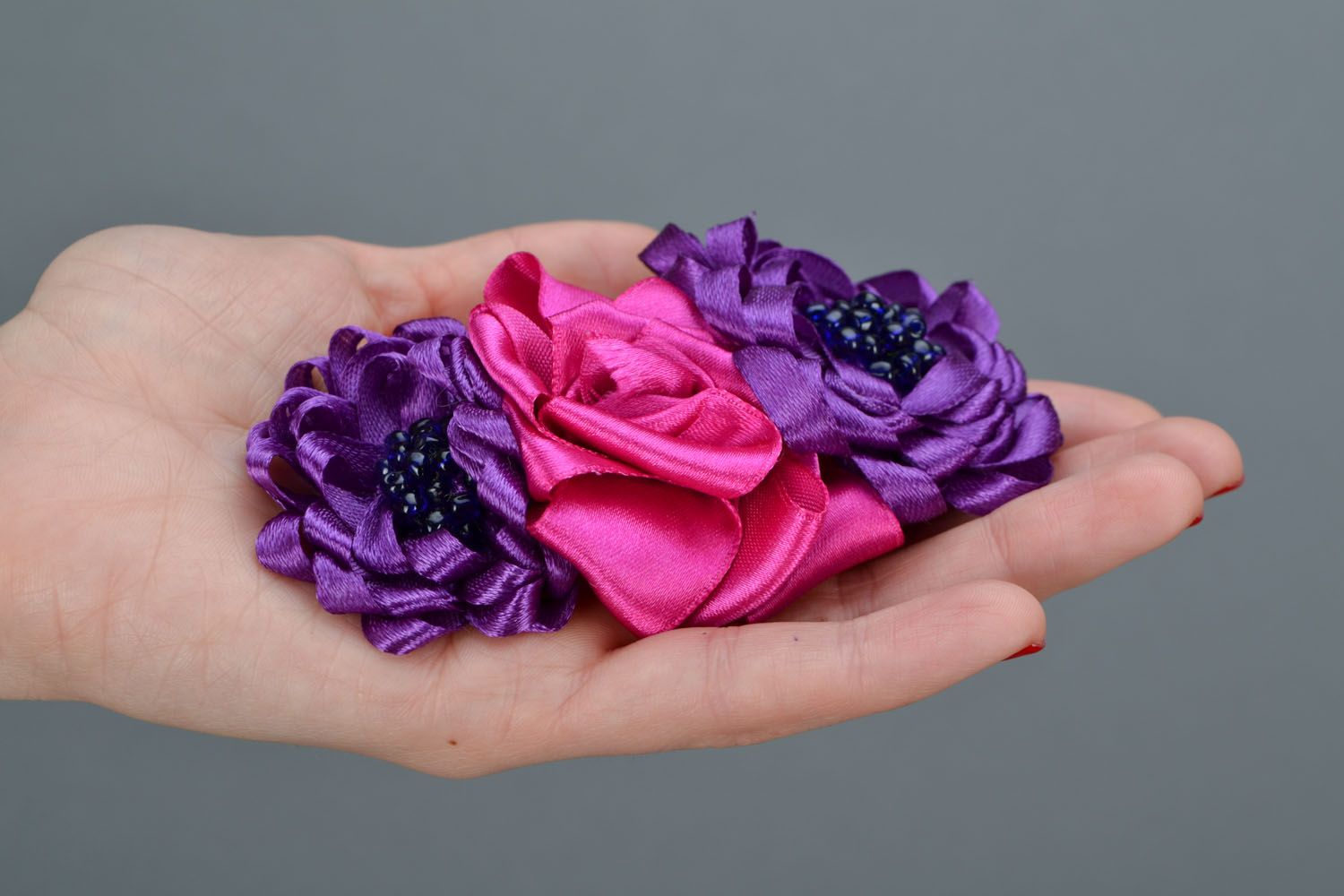 Bright flower hair clip Fuchsia photo 2