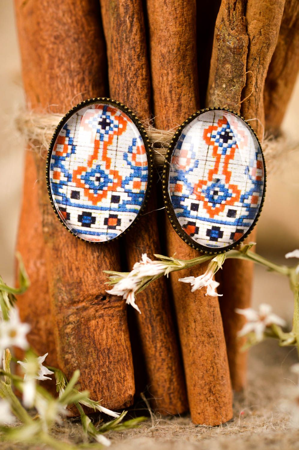 Handmade earrings with print cabochon jewelry elegant earrings with charms photo 1