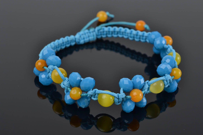 48d1cc5a2b91 Pulsera de cristal checo y cordón encerado macramé artesanal original azul