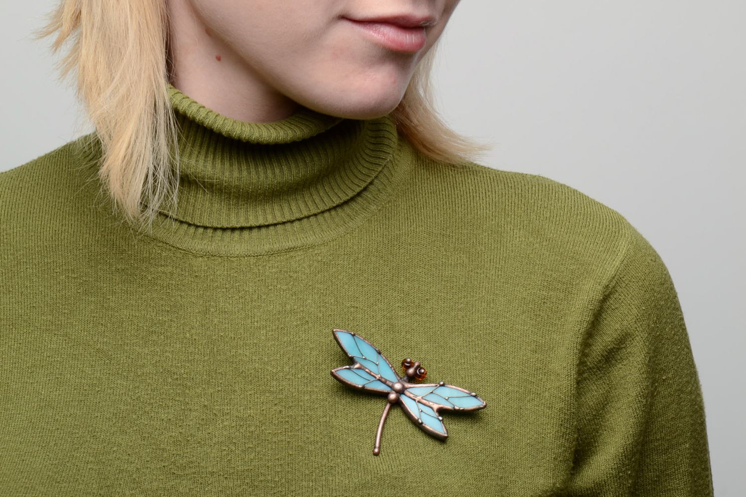 Stained glass brooch Blue Dragonfly photo 5