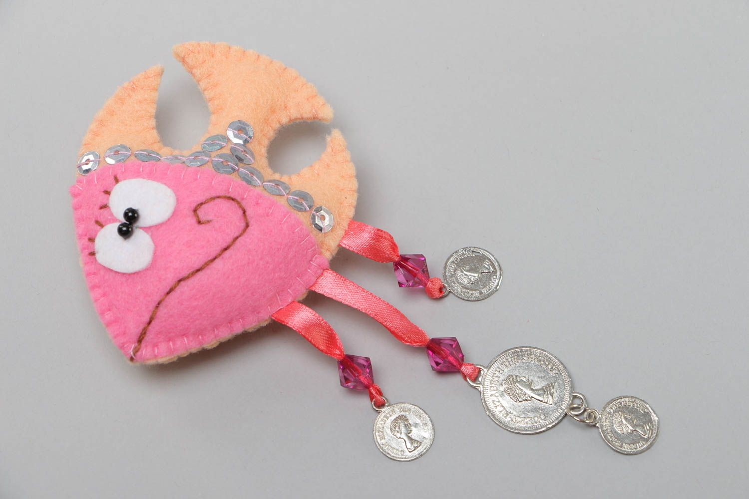 Handmade soft toy fridge magnet sewn of felt with beads and coins charms Fish photo 2