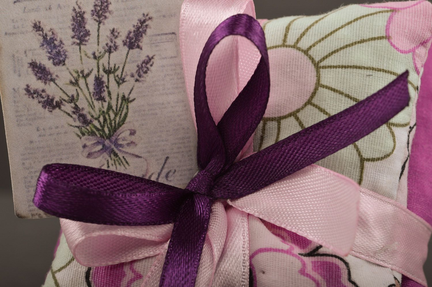 Tender handmade sachet pillows sewn of fabric with ribbons with mint Lilac  photo 3