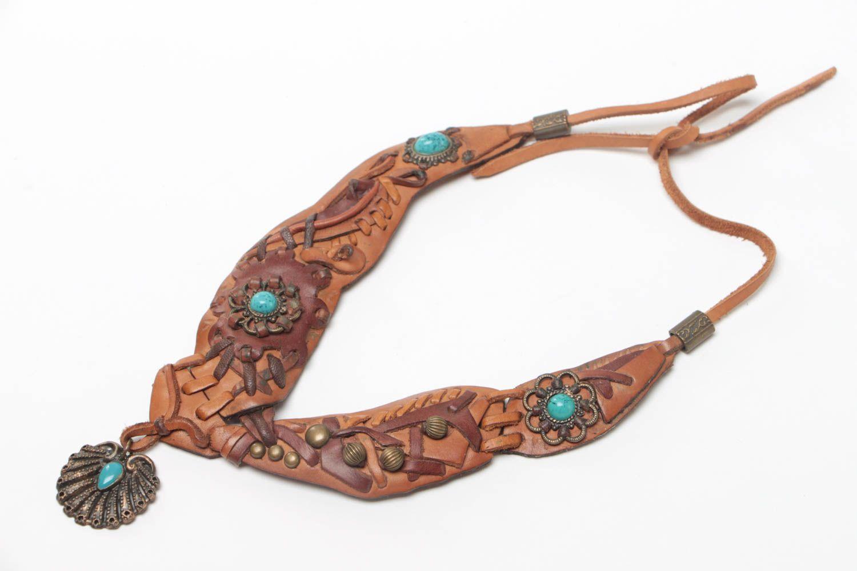 collares de cuero Collar de cuero marrón claro con piedra natural de turquesa artesanal , MADEheart