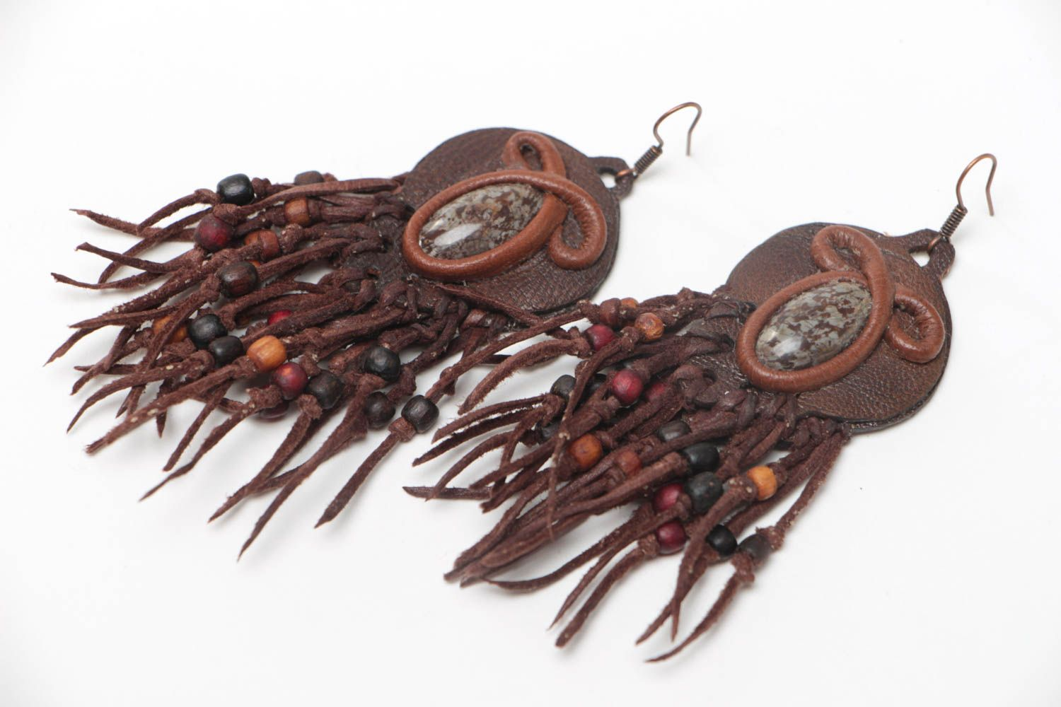 Handmade long leather earrings with natural jasper stone designer jewelry photo 2