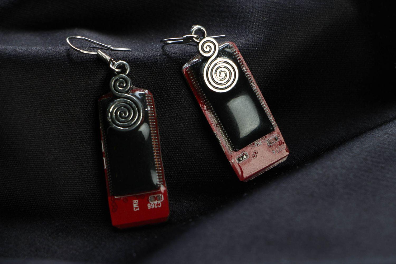 steampunk earrings Rectangular metal earrings in cyberpunk style - MADEheart.com