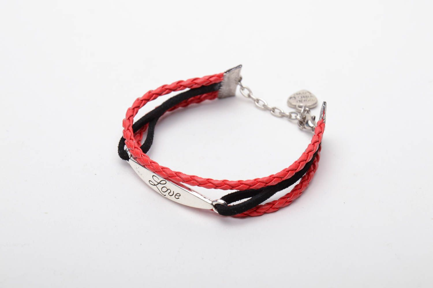 Genuine leather bracelet Red and Black photo 3