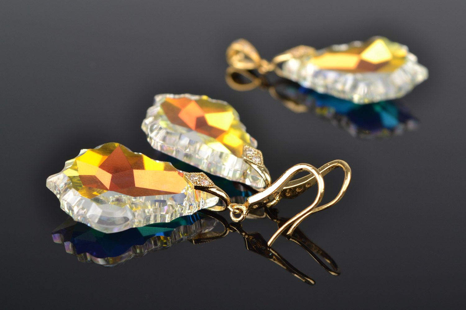 Handmade yellow evening beaded earrings and pendant with Austrian crystals 2 items designer jewelry set photo 1