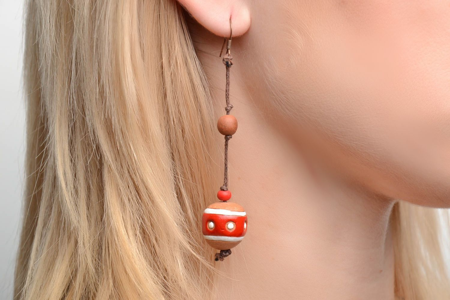 Ceramic ball earrings in eco style photo 2
