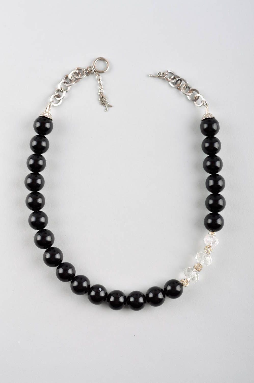 técnica mezclada Collar artesanal con perlas negras accesorio para mujer bisutería fina , MADEheart.com