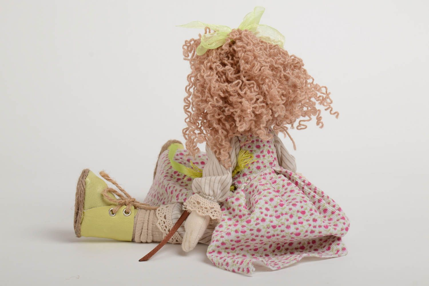 Designer fabric doll made of natural materials with movable limbs home decor photo 3