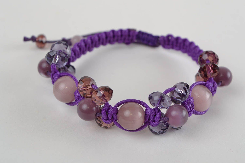 bracelets textiles Bracelet fait main en perles de verre tchèque de couleur violette tressé - MADEheart.com