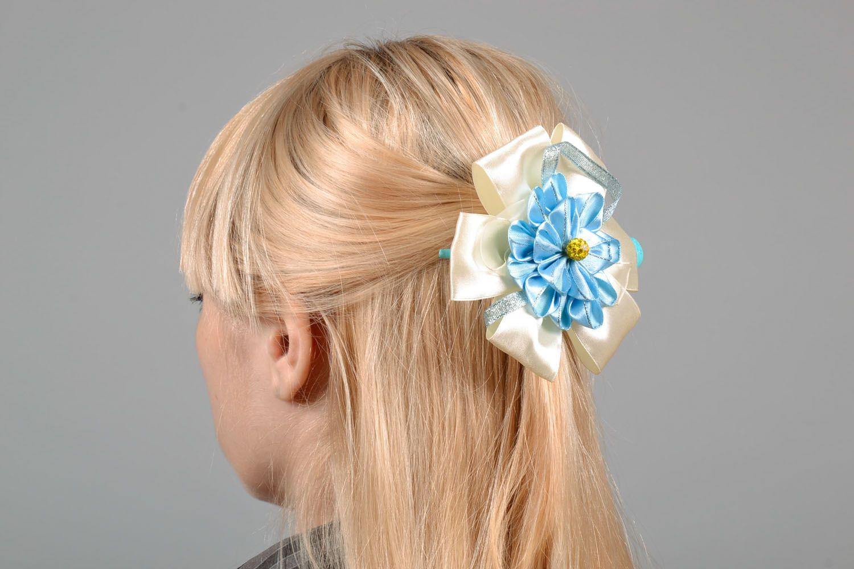 Haarspange aus Stoff mit Blumen foto 1