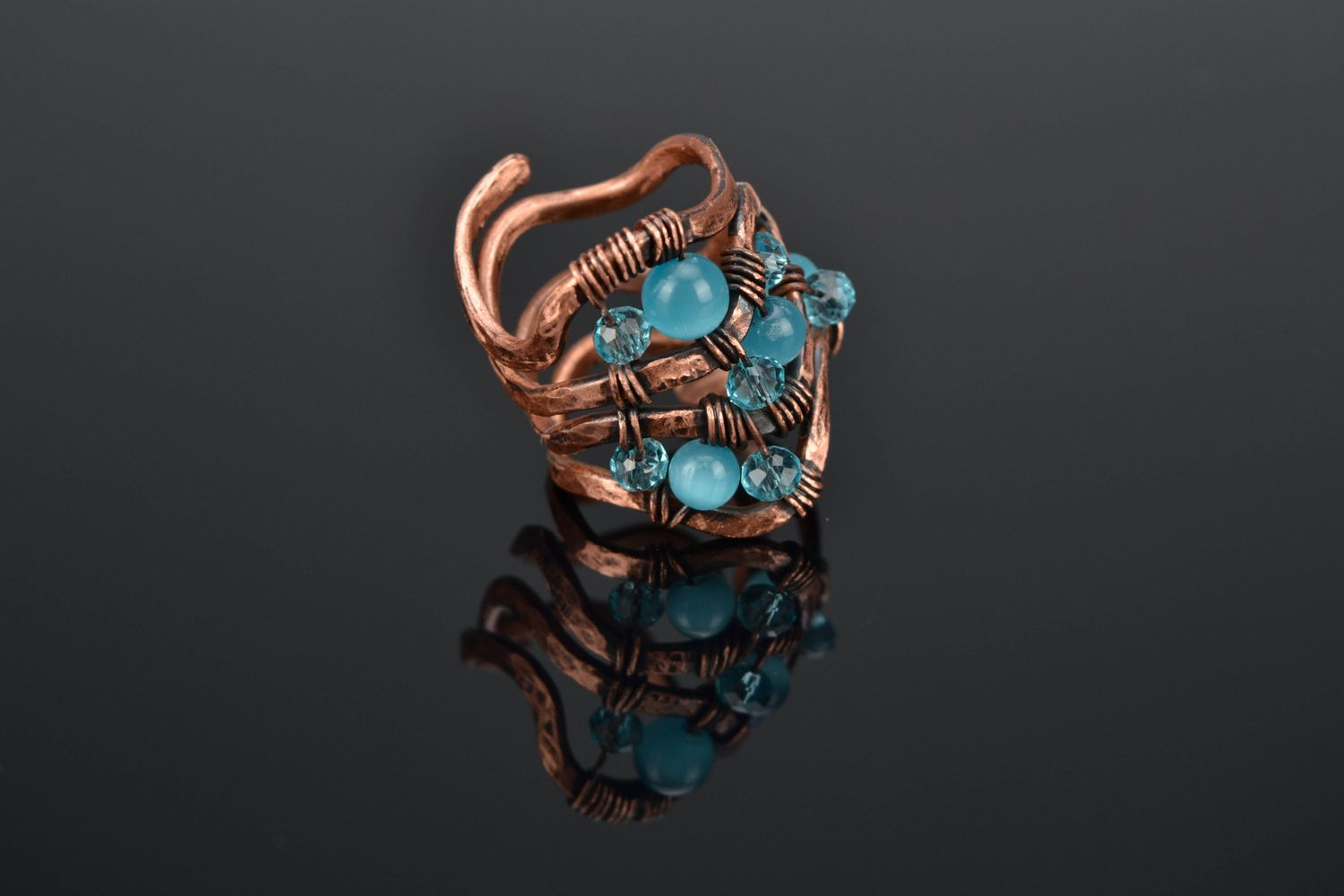 Wire wrap copper ring with cat's eye stone photo 1